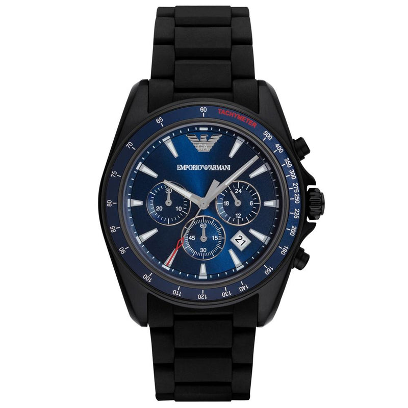Mens / Gents Black Rubber Chronograph Strap Emporio Armani Designer Watch AR6121