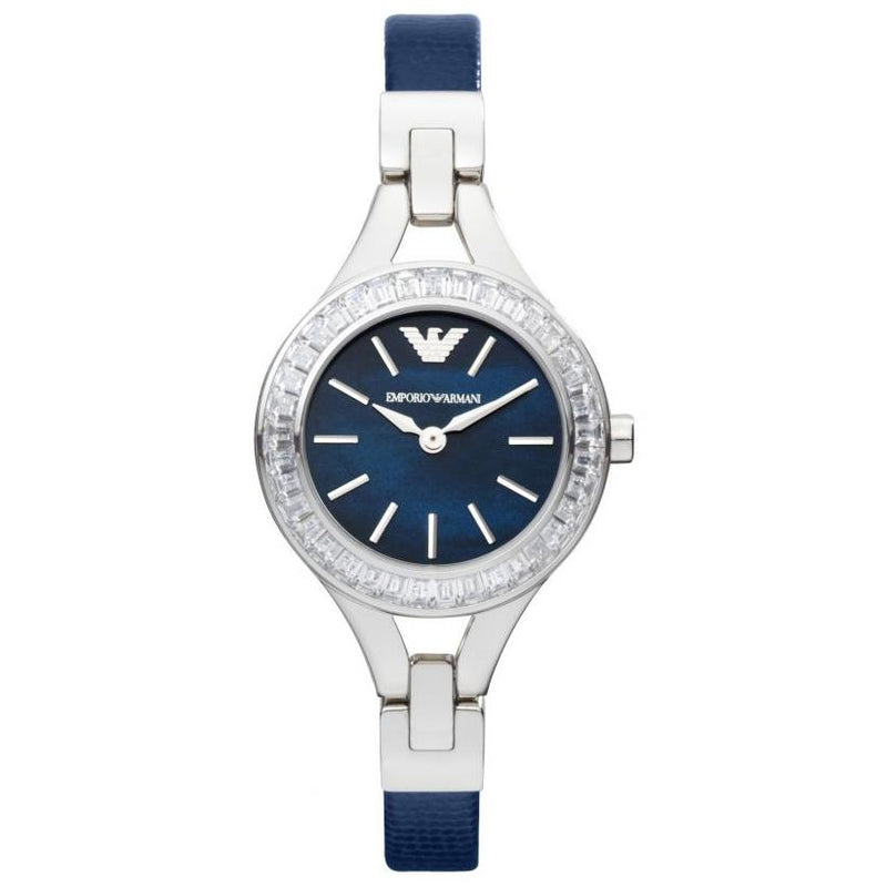 Ladies / Womens Blue Dial Crystal Bezel Stainless Steel Emporio Armani Designer Watch AR7330