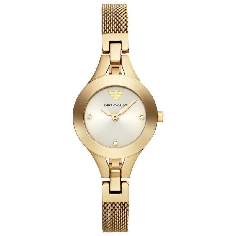 Ladies / Womens Gold Stainless Steel Bracelet Emporio Armani Designer Watch AR7363