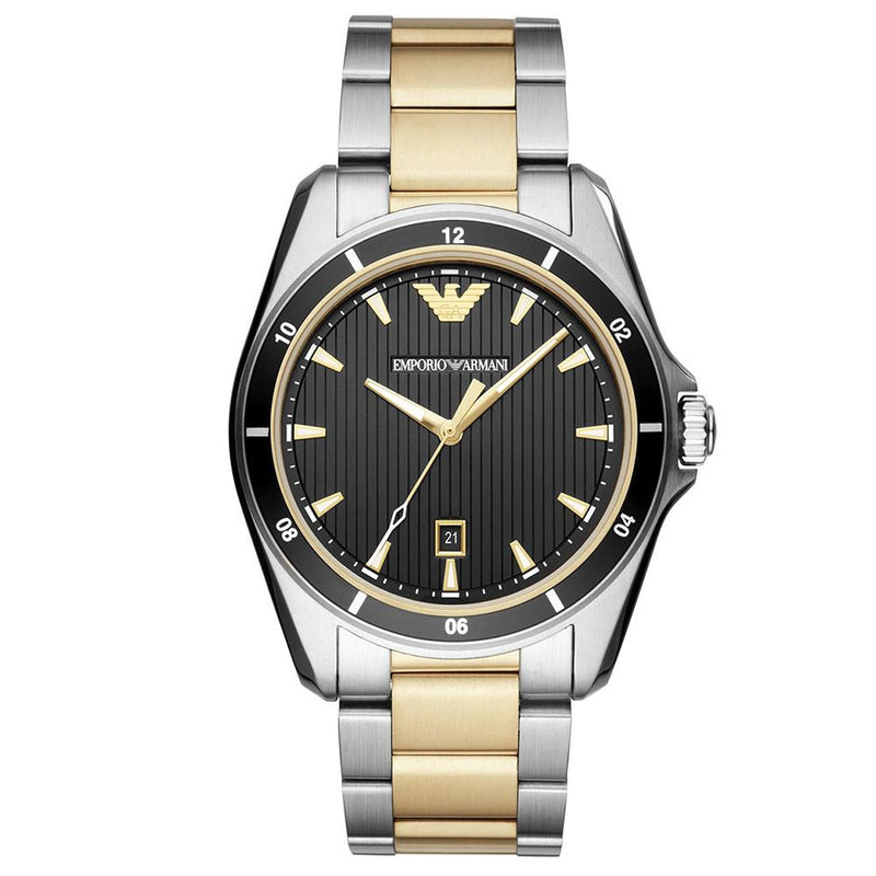 Mens / Gents Two Tone Gold Stainless Steel Emporio Armani Designer Watch AR80017