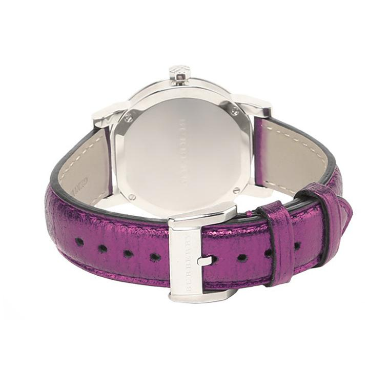 Ladies / Womens Purple Leather Strap Silver Dial Burberry Designer Watch BU9122