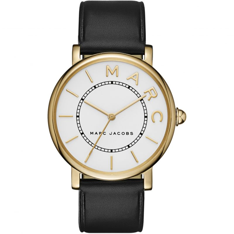 Ladies / Womens Roxy White Dial Black Leather Marc Jacobs Designer Watch MJ1532