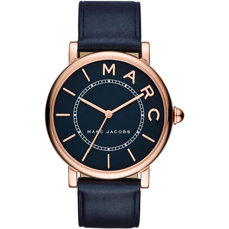 Ladies / Womens Roxy Navy Blue Leather Marc Jacobs Designer Watch MJ1534