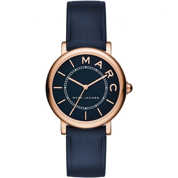 Ladies / Womens Mini Navy Blue Leather Marc Jacobs Designer Watch MJ1539