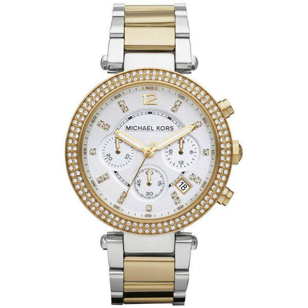 Ladies / Womens Parker Silver & Gold Chronograph Michael Kors Designer Watch MK5626