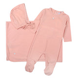 Kipp set footie pointel look blanket hat - blush