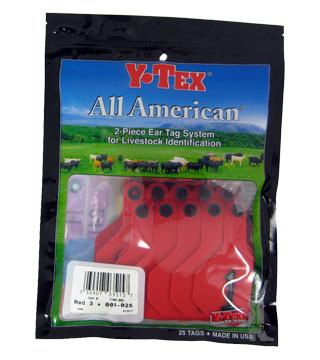 Y-Tex - Tag & Button 3 Star (1-25) Red