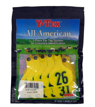 Y-Tex - Tag & Button 3 Star (26-50) Yellow