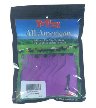 Y-Tex - Tag & Button 4 Star (1-25) Purple