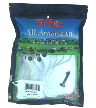 Y-Tex - Tag & Button 4 Star (1-25) White