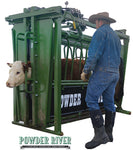 Powder River- Squeeze Chute - H2000 With Neck Extender - Hydraulic - Green