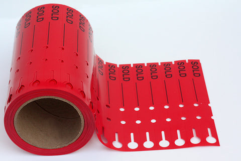 "DP Industries - 7"" x 3/4"" Red ""Sold"" Tags- 1000/Roll"