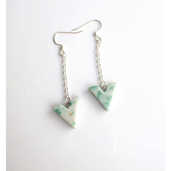 African Jade Dangle Earrings - Earrings