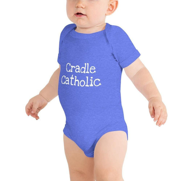 Cradle Catholic Baby Bodysuit - Heather Columbia Blue / 3-6m