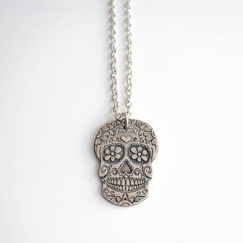 Flowers and Hearts Sugar Skull Necklace - Necklace