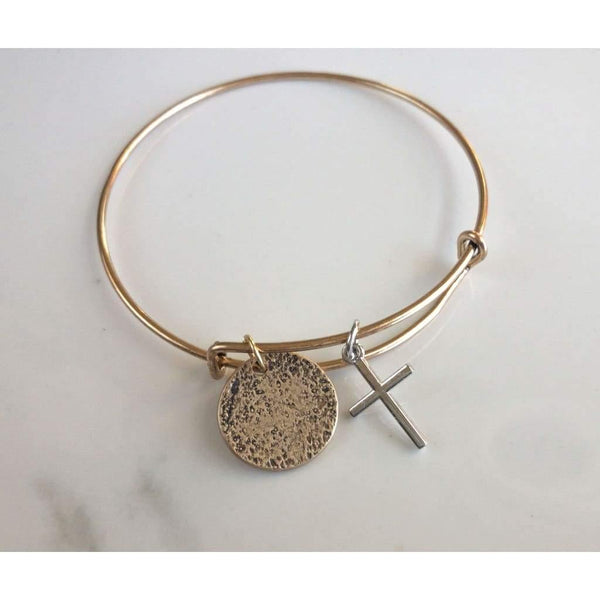 Gold AMDG Cross Bracelet - Bracelet