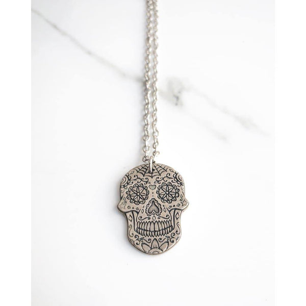 Spiderweb Sugar Skull Necklace - Necklace