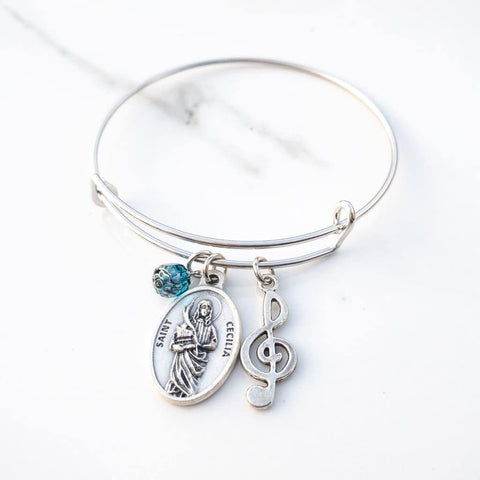 St Cecilia Patron Saint of Musicians Bangle Bracelet