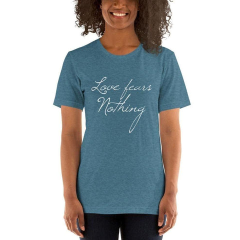 St Faustina Love Fears Nothing Quote Tee - Heather Deep Teal