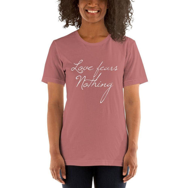 St Faustina Love Fears Nothing Quote Tee - Mauve / S - Shirt