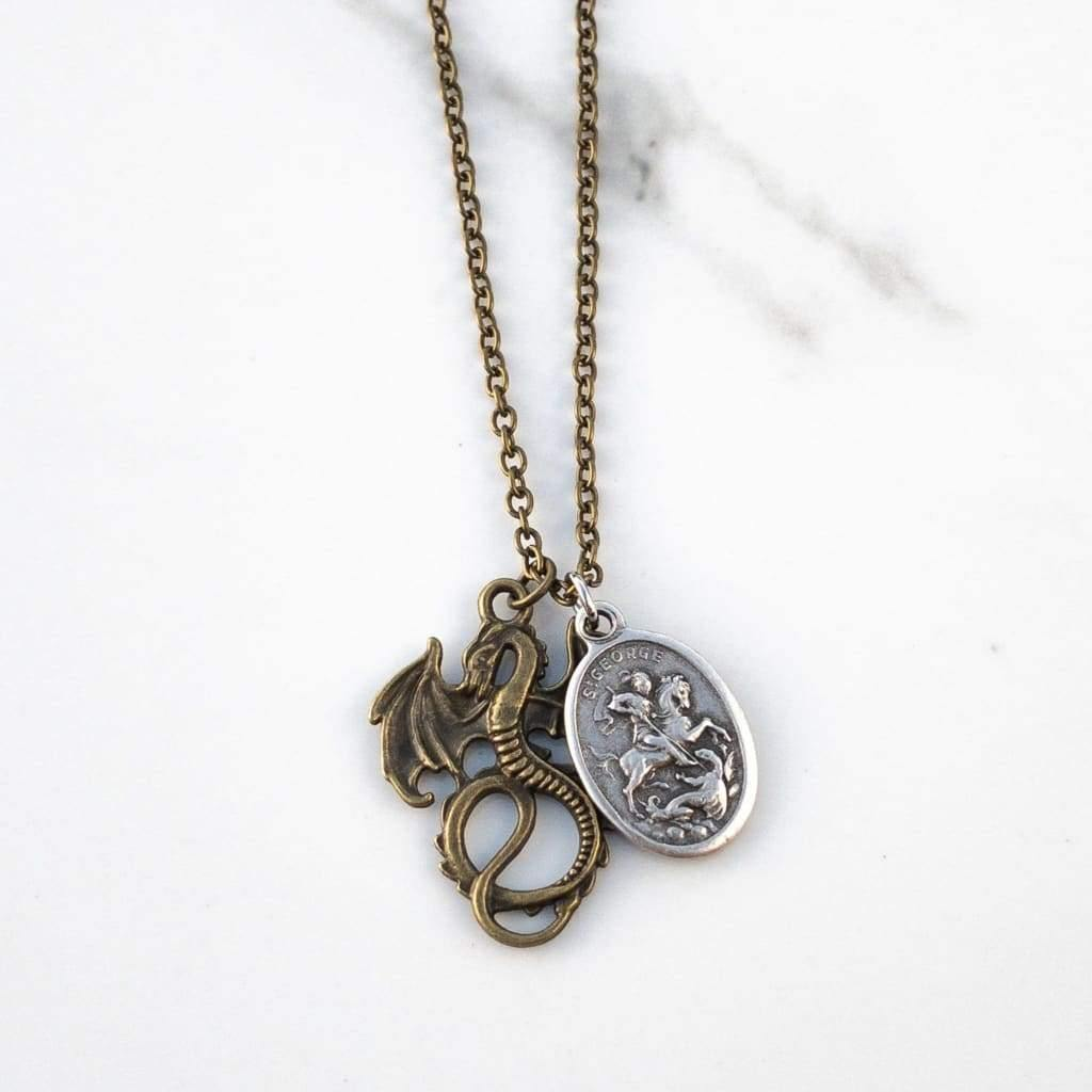 St George and Dragon Necklace - Saint Necklace
