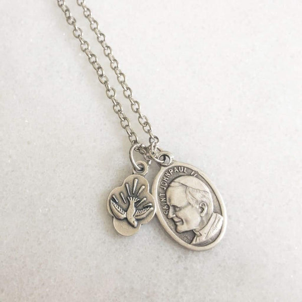St John Paul II and Holy Spirit Necklace - Saint Necklace
