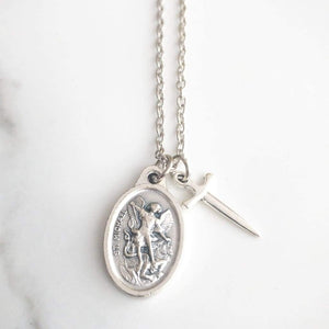St Michael Archangel and Guardian Angel Necklace - Saint