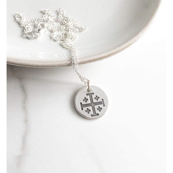 Sterling Silver Jerusalem Cross Necklace - Necklace
