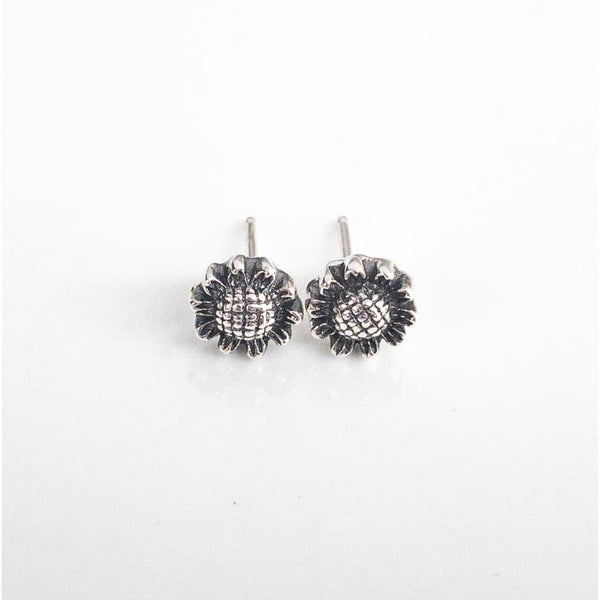 Sterling Silver Sunflower Stud Earrings - Earrings