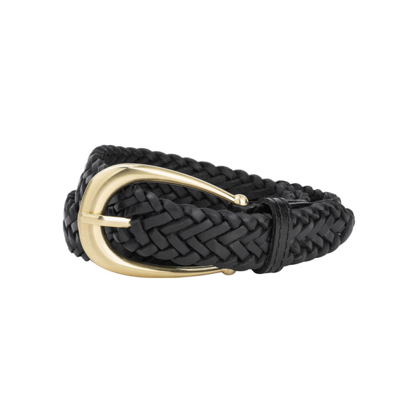 The Annely Woven Belt in Vintage Black