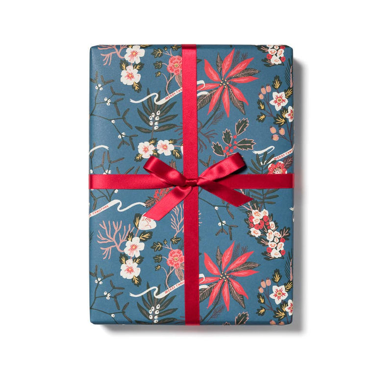 Blue Poinsettia Gift Wrap