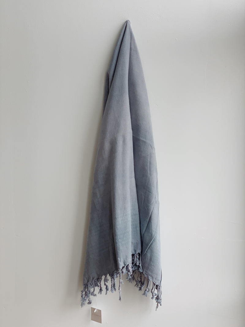 Mist Blue Stripe Stonewashed Turkish Towel