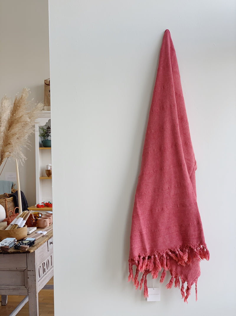 Raspberry Stonewashed Turkish Towel