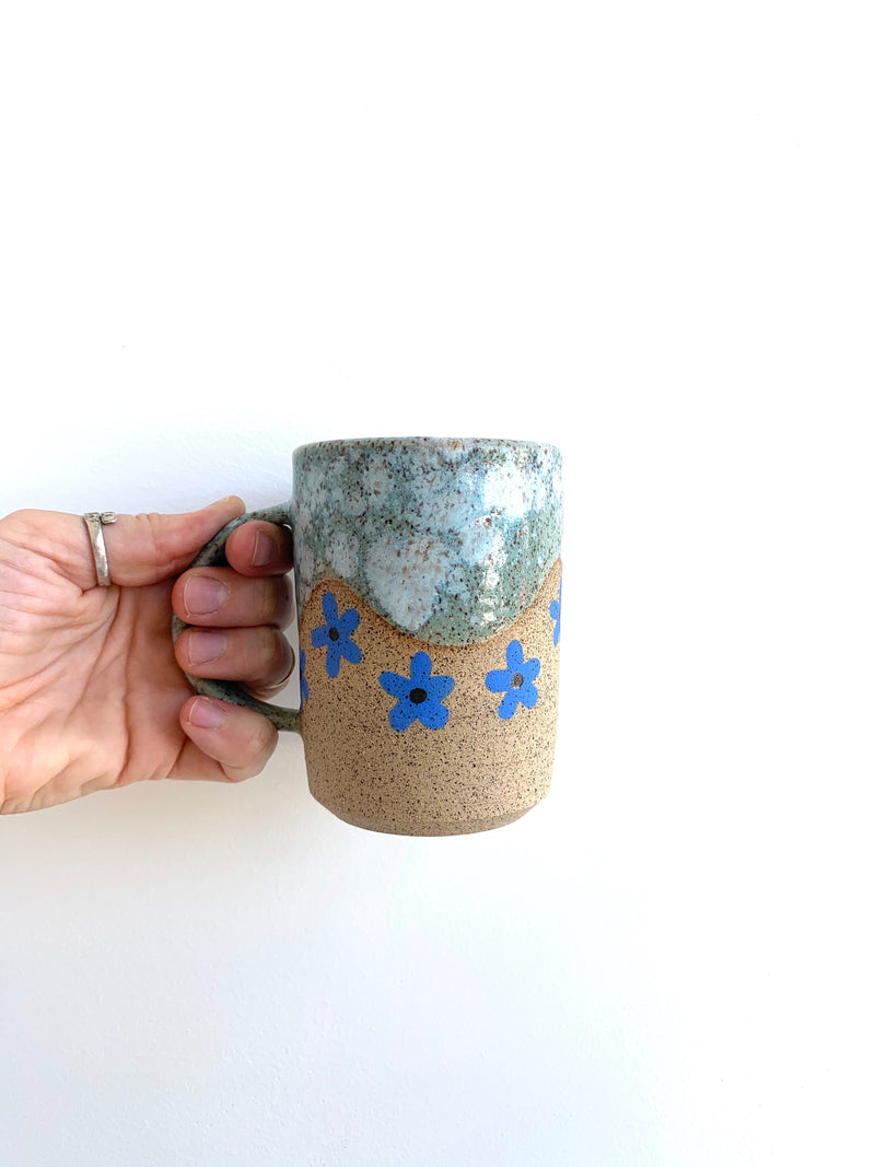 Blue Wave with Blue Flower Mug