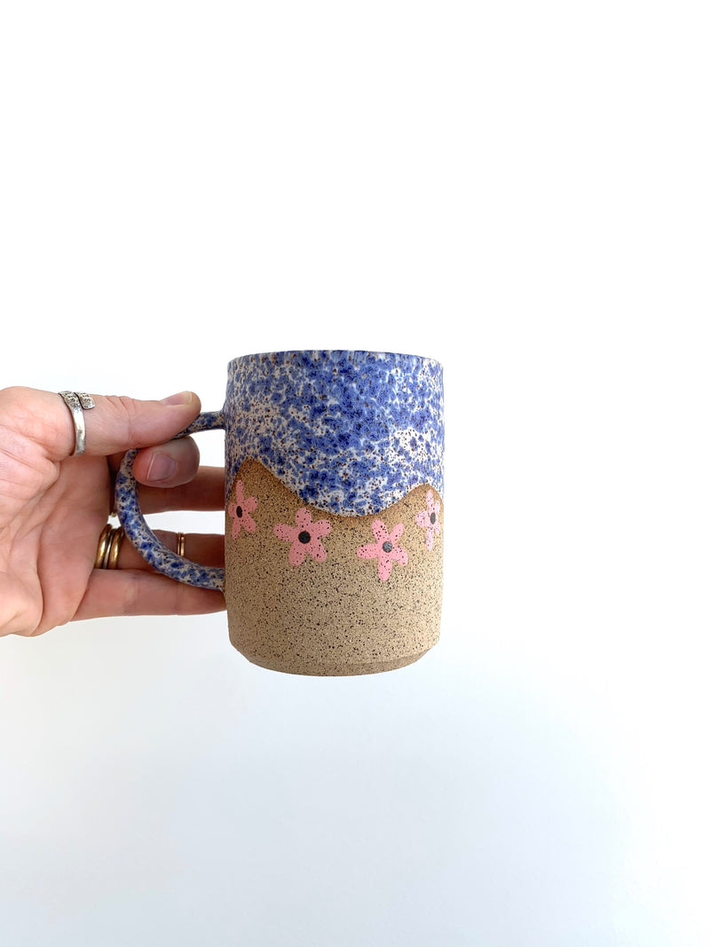 Blue Wave with Pink Flower Mug