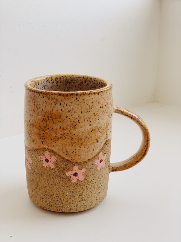 Peach Wave with Pink Flower Mug