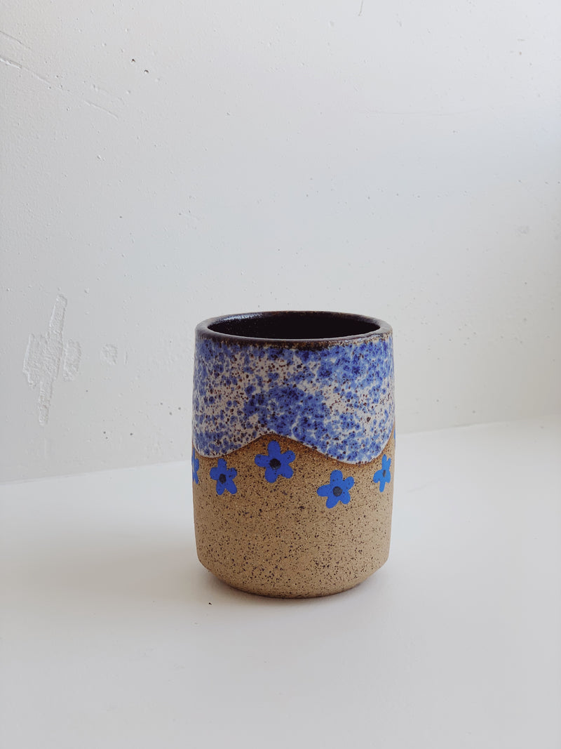 Blue Wave with Blue Flower Shimmer Mug