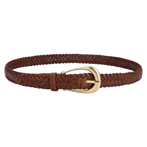 The Annely Woven Belt in Vintage Tan