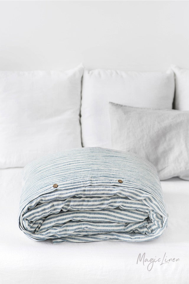 Twin Linen Duvet Cover in Striped Blue