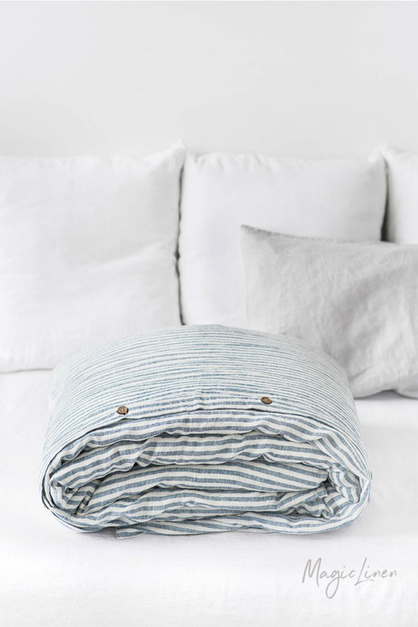 King Linen Duvet Cover in Striped Blue