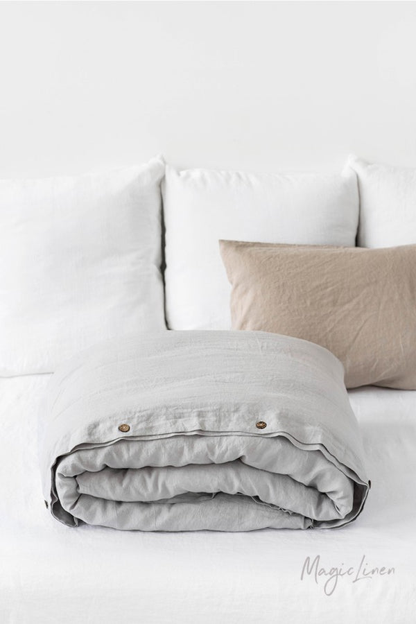King Linen Duvet Cover in Light Grey