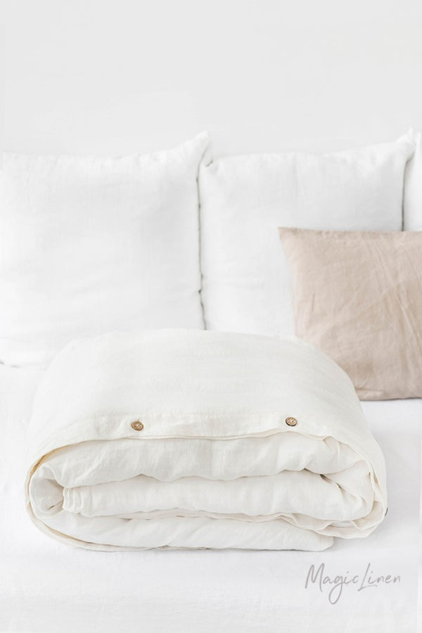 King Linen Duvet Cover in Ivory