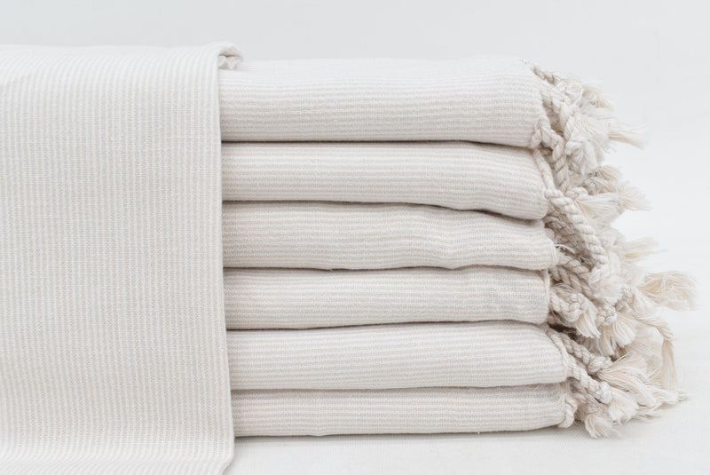 Stripe Tan Stonewashed Turkish Towel