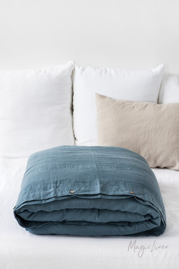 Queen Linen Duvet Cover in Blue Grey