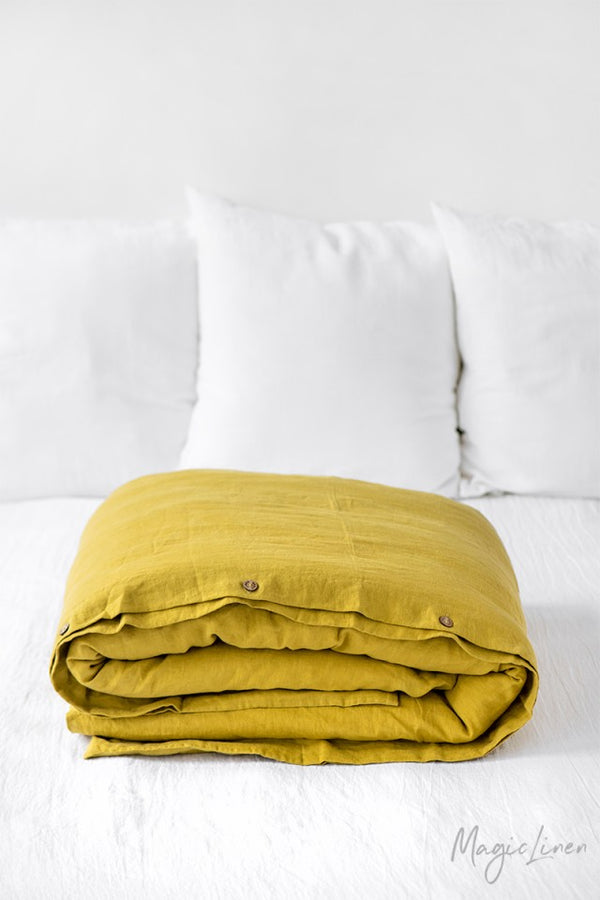 Queen Linen Duvet Cover in Moss Yellow