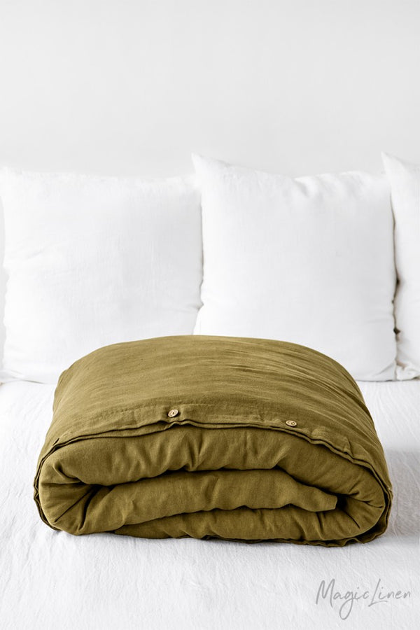 King Linen Duvet Cover in Olive