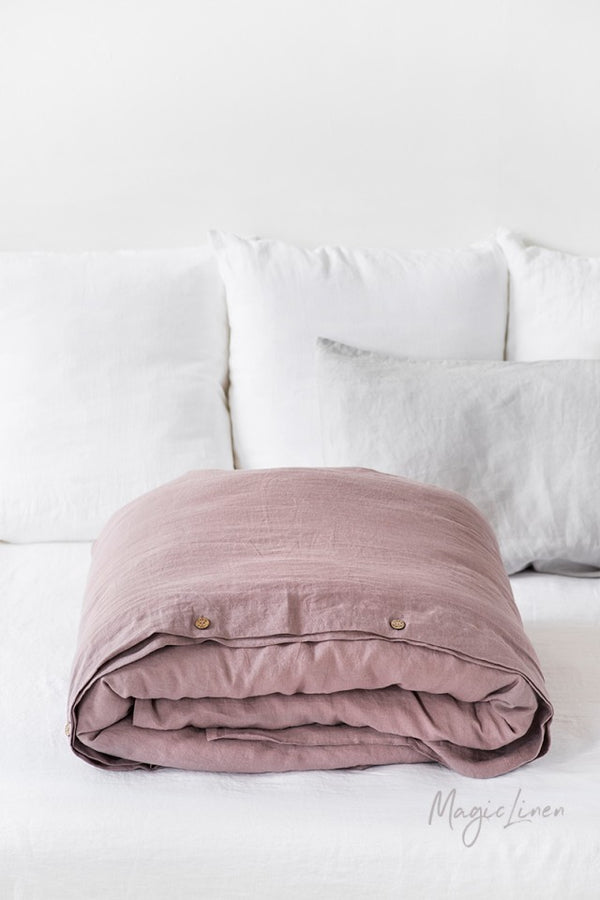 Queen Linen Duvet Cover in Woodrose
