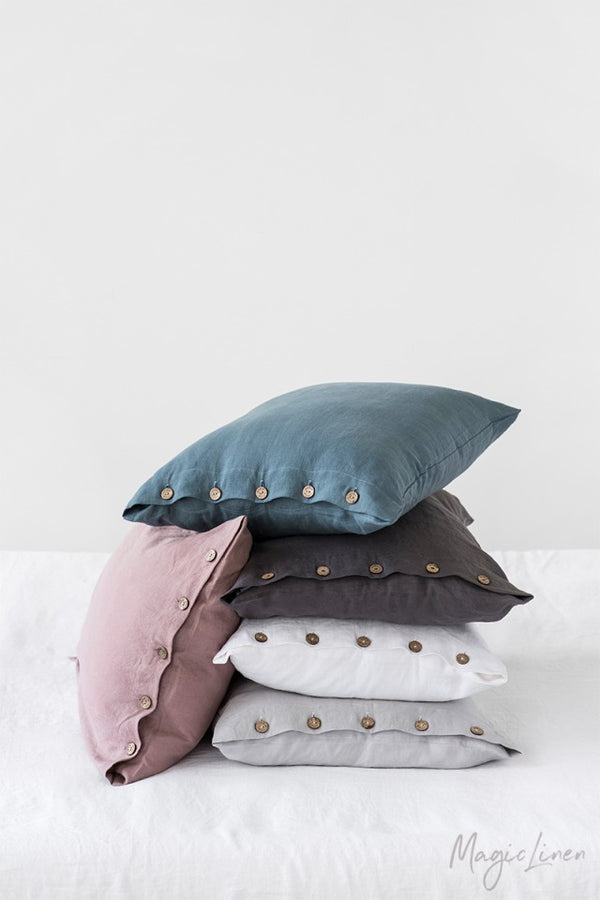 King Linen Pillowcase with Buttons
