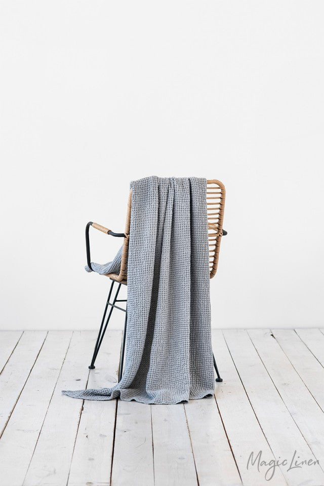 Linen Waffle Throw in Light Grey