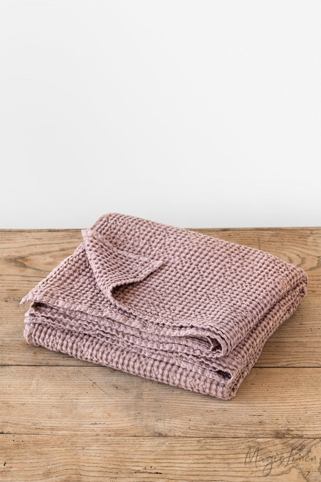 Linen Waffle Throw in Woodrose